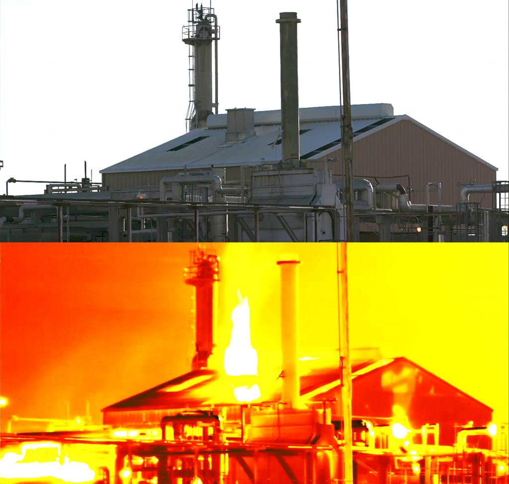 Before and after methane leakage special image view - invisible escaping of gases is seen.